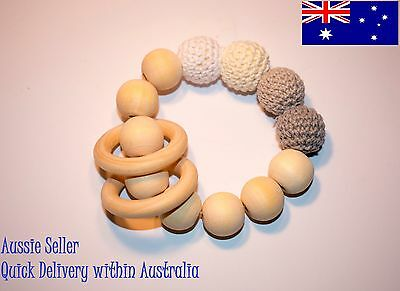 Natural Beech wood teether with rattle