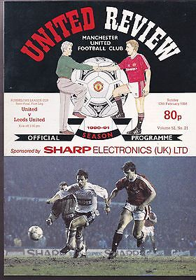 Manchester United Vs. Leeds United Programme 10 February 1991 League Cup Semi