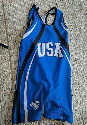 Wrestling Blue Jersey Singlet Mens Adult Small Usa