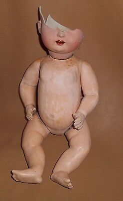 """Antique 14"""" Nippon Composite Chubby Baby Doll Jointed Body For Parts"""
