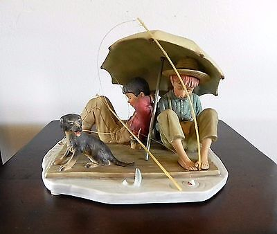 Norman Rockwell SUMMER FISHERMAN'S PARADISE FIGURINE Gorham Japan FOUR SEASONS