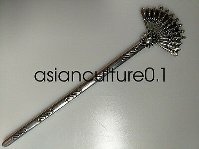 Chinese decorations Miao silver Handmade Exquisitefashion Hairpin fan