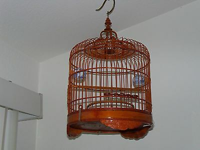 "Antique Ornate Carved Chinese Bamboo Bird Cage 2 Porcelain Bowls ""NEW CONDITION"""
