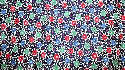 Vtg 23X38 Tiny Blue Green Red Flower Vines Unopened Feed Sack Fabric Quilt Craft