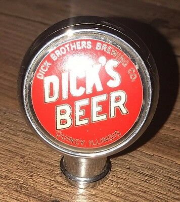 Dicks Beer Chrome Tapper Tap Handle Topper Handle Quincy Illinois Dick Brothers