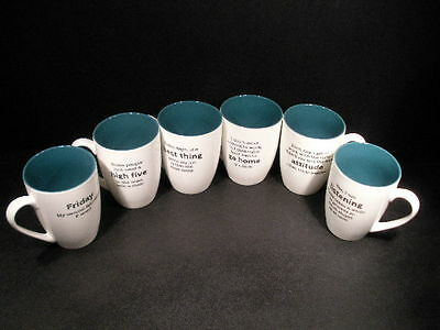 """""""workaholic"""" Funny Message Coffee Mugs - Set Of 6"""