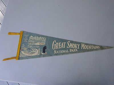 1950's Great Smoky Mountains National Park Pennant, Bear, The Loop, Chimney Top