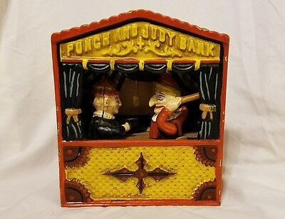 Original Punch and Judy Cast Iron Coin Bank
