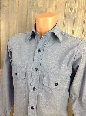 Vintage FIVE BROTHER Chambray Button-Up Shirt (70s) Blue WORK/CHORE SZ SMALL EUC