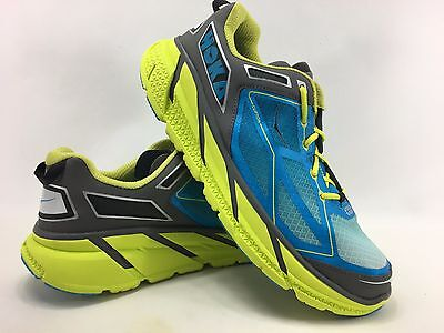 Hoka One One Men's Clifton Running Shoes in Blue/Grey/Yellow Size 11