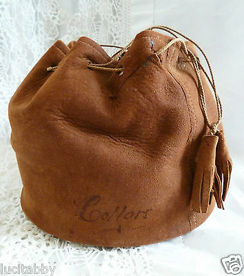 Vintage Collar Bag Box Suede Drawstring 5 Collars Indian Chief Teepee Canoe Tear