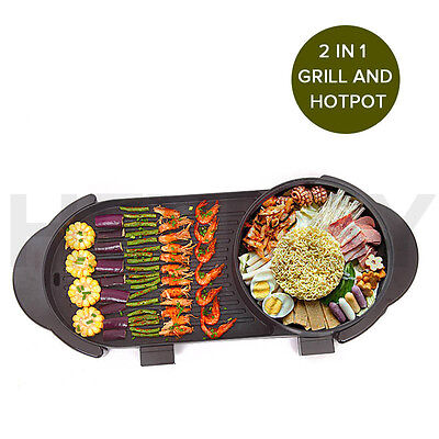 2 in 1 Electric Non-Stick BBQ Teppanyaki Grill Plate Steamboat Hotpot 2-8 Person