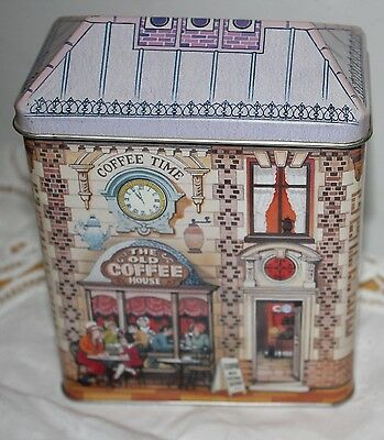 Silver Crane Tin COFFEE HOUSE England nice detail RARE