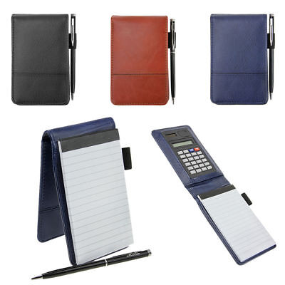 PU Leather A7 Writing Memo Note Pad With Calculator and Pen Mini Pocket Notebook