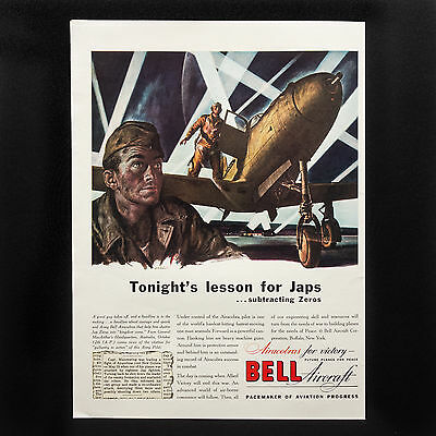 1943 BELL AIRCRAFT WW2 Airacobra Night Mission vintage print ad large magazine