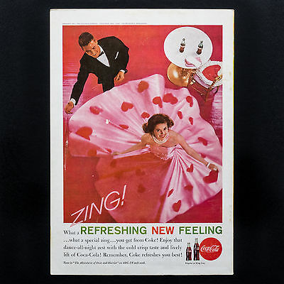 1961 COCA-COLA DANCING COUPLE Red Valentine Coke vintage print ad from magazine