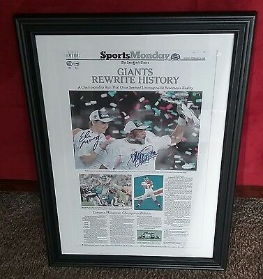 GIANTS MANNING & STRAHAN AUTOGRAPHED SIGNED FRAMED 14x20 FOOTBALL PHOTO STEINER