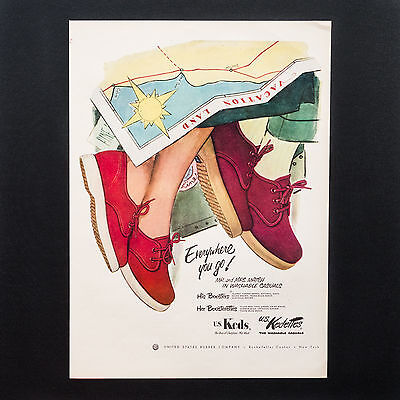 1952 KEDS SHOES His and Her on Vacation with Map vintage print ad large magazine