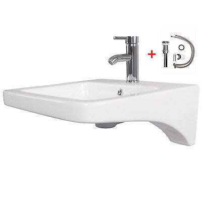 Porcelain Wall Mount Sink Bathroom Ceramic Basin Chrome Faucet Pop Up Drain