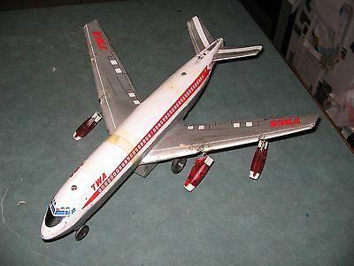 Vintage Twa Boeing Super Jet Airliner Plane Tin Toy Battery Operated
