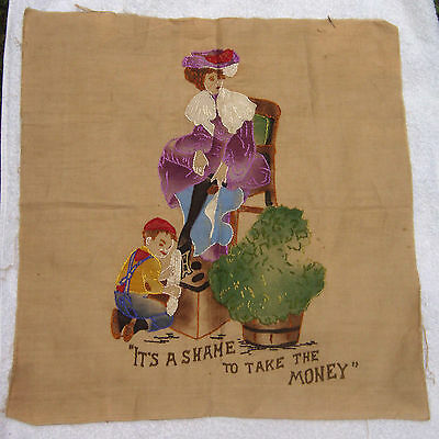 Vintage Naughty Shoe Shine Boy Textile Embriodered Embroidery Hand Colored