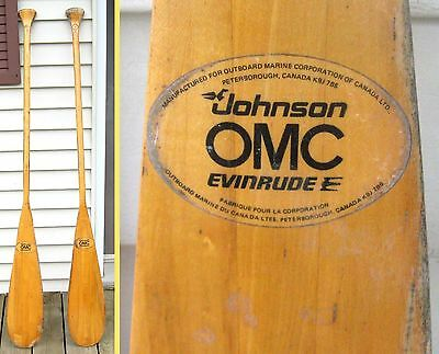 "Vintage PAIR Wood PADDLES 60"" OUTBOARD EVINRUDE JOHNSON LABELS OAR Canoe OMC"