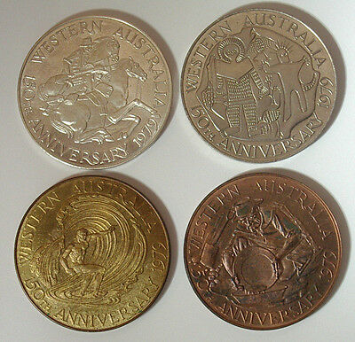 AUSTRALIA 1979 150th Anniv Swan River Colony, 4 MEDALS, DIFFERENT METALS, UNC