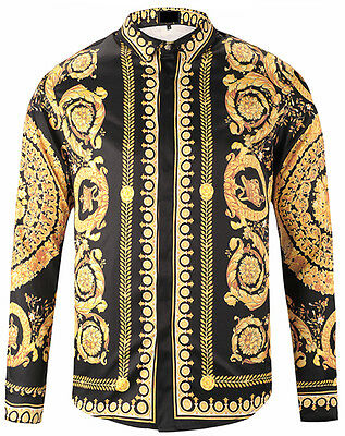 Mens Luxury 3D Paisley Golden Floral Print Long Sleeve Button Down Dress Shirts
