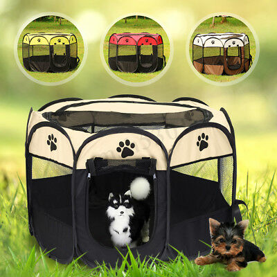 Soft Pet Dog Cat Tent Playpen Exercise Play Pen Fence Cage Kennel Crate Folding