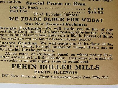 1921 Advertising Card Pekin Roller Mills Ill For Flour , Trade For Wheat