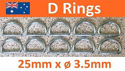 Limited Stock Only! 10/pk METAL NICKEL DEE D RINGS 25mm NON WELDED 3.5mm THICK