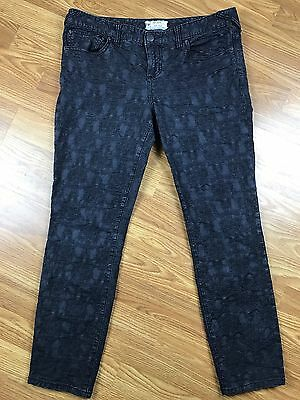 Free People Women's Black Textured Jeans Pants Stretch Skinny Size W 31