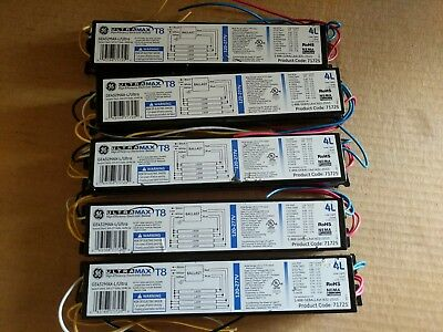 (Lot of 5) GE Ultra-Max T8 Ballast GE432MAX-L/Ultra 4 Lamp 120-277V #71725