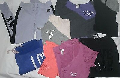 LOT VS PINK Clothes Bling Thermal Cropped Sweatpant Shirt Top Size S Small