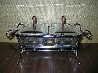 1950's  CHROME  DUAL  CHAFER  WARMING  STAND w/ FIRE-KING  GLASS  INSERTS  EUC