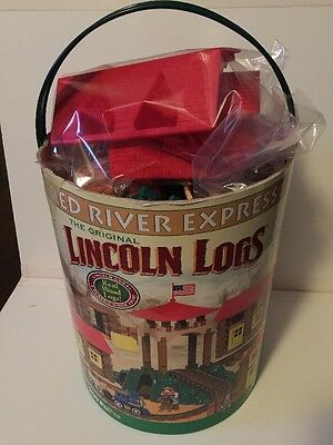 Lincoln Logs Red River Express Play Set 249 piece train figures track playset