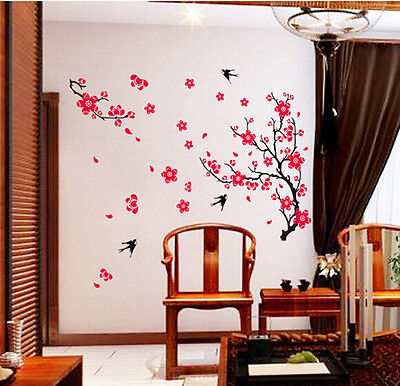 Cherry Peach Blossom Flower Butterfly Mural Wall Decal Stickers Decor Removable
