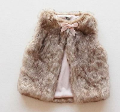 Little Toddler Girls Fur Bow Vest Tops Kid's Fashion Outerwear Clothes 5-6Year