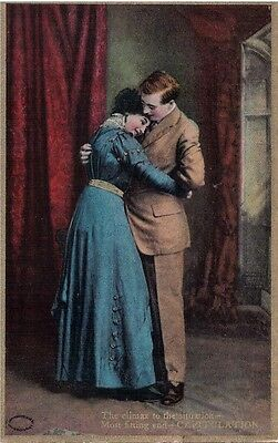 Vintage Postcard Courting Couple Capitulation Used c.1909