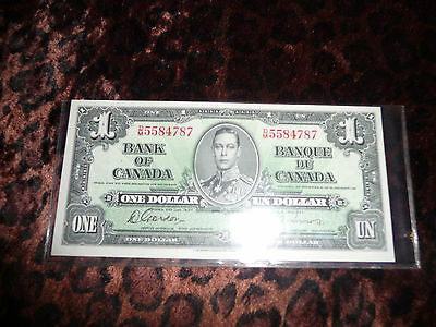 Old 1937 Canadian One Dollar  Note Towers Signature Bank Of Canada Bill Banknote