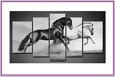 NEW - 5 Canvas Panel Wall Art -RUNNING HORSES - Ride Cowgirl Rodeo Nature Wild