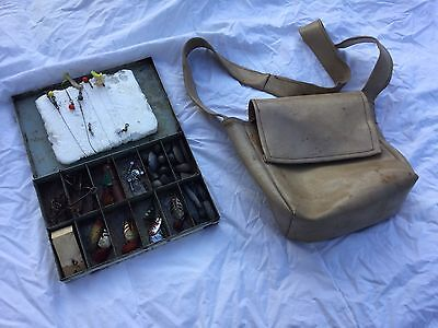Vintage Fishing Tackle Box With Bag. Incl. all Antique Lures, Sinkers & more....