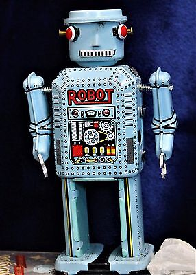 Dr Django's Tin Wind-Up Silver Robot