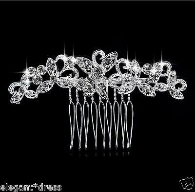 Silver Bridal Wedding Party Crystal Rhinestone Diamante Hair Comb Clip