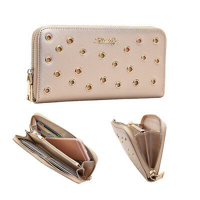 Aitbags Women's Leather Wallet Studded Continental Wallet Card Case Zip Around
