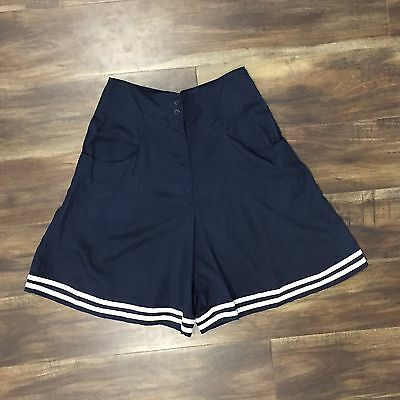 SMALL - Vintage Navy And White High Waisted Sailor Shorts
