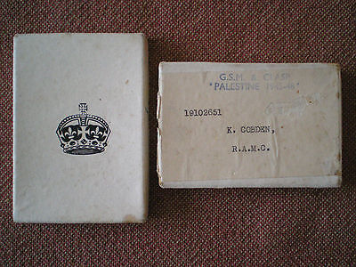 General Service Medal Issue Box to COBDEN, Royal Army Medal Corps Palestine 45-8