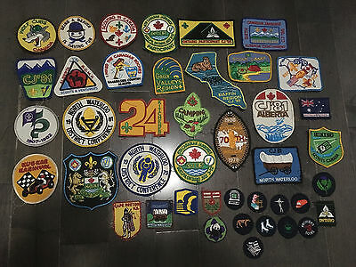 LOT of 43 Vintage SCOUTS CANADA PATCHES BOY SCOUT Wolf Cub Beaver Patch Jamboree