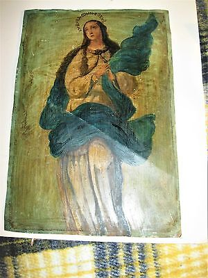 Vintage Retablo On Tin Our Lady Of The Imaculate Conception Good Condition