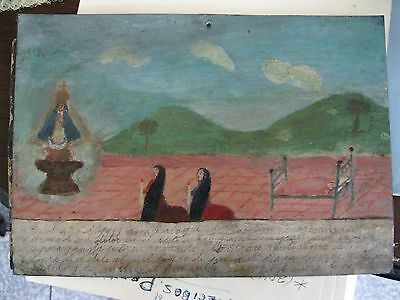 Original 1940's Exvoto /retablo On Tin Thanking Our Lady De San Juan For Favor